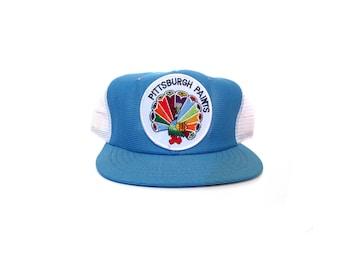 Vintage 80s Baby Blue PITTSBURGH PAINTS Snapback Trucker Hat mesh hat blue rainbow peacock retro indie hipster hip hop vestiesteam preppy