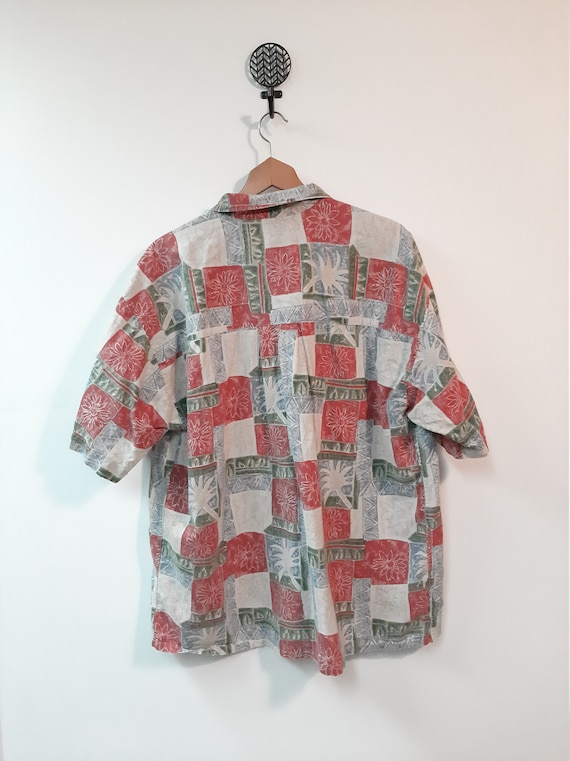 Vintage 1990s Green Composition Book Print and Palm Tree Hawaiian Button Down Shirt