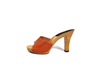 Vintage 70s Caramel Brown Leather RAPALLO Open Toe High Heel Mules wineb 6.5 7 hippie disco boho clog heels sandals Italian bombshell heels
