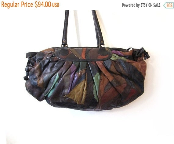 Vintage 80s Oversized EARTHEN Patchwork  Leather B