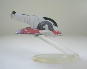 "Boba Fett Slave I Star Wars Spaceship, 1.5"" Micro Machines Miniature Toy Ship w/ Display Stand, Fathers Day Gift, Bounty Hunter Empire Strik"
