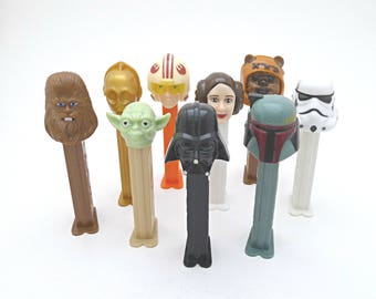 Personalized Star Wars Miniature Toy Fathers Day Gift Vintage PEZ Dispenser & Candy, Boba Fett, Princess Leia, Ewok, Yoda, Darth Vader, C-3P
