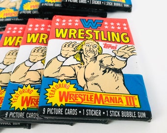 Vintage WWF Trading Cards, WWE Pro Wrestling Gift for Men, 1980s Hulk Hogan Wax Packs / Stickers, Andre the Giant, 80s Nostalgia