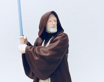 Obi Wan Kenobi Star Wars Collectible Figurine, 1997 Applause Plastic Vinyl Doll with Gray Lightsaber, May the 4th Father's Day Gift