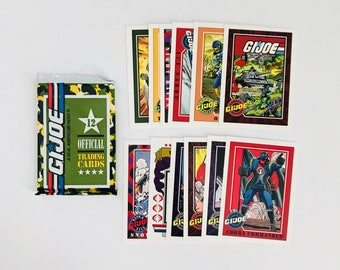 Vintage Hasbro GI Joe Kids Trading Cards, 1 UNOPENED PACK of 12, Collectible Funny Fathers Day Gift, Cobra Commander, Snake Eyes, More