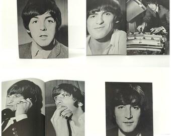 1965 Beatles Memorabilia USA Fan Club Limited Edition Photo Albums, Set of 4, Rare Black & White Poster Booklets, John, Paul, George, Ringo