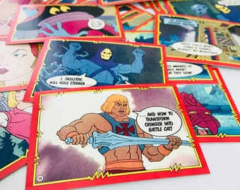 He Man Masters of the Universe Trading Cards, 1980s Funny Fathers Day Gift, 1985 Mattel MOTU, Skeletor, He-Man, Teela, Beast Man, SET OF 50