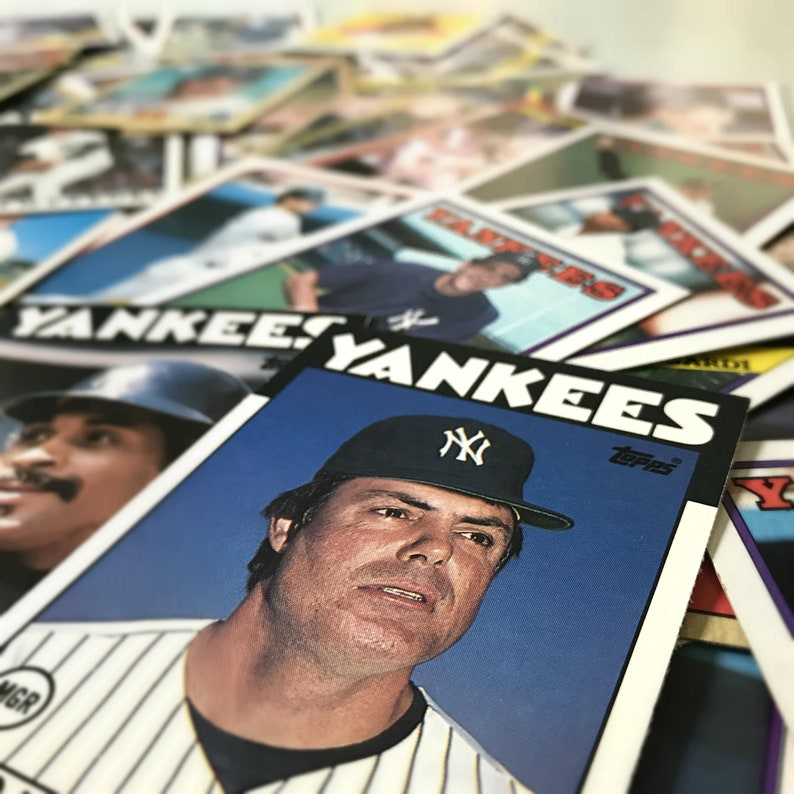 New York Yankees Baseball Cards Sports Gift Men 90s And 80s Topps Trading Cards Set Of 30