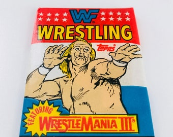1980's WWF Wrestling Trading Cards, Hulk Hogan, Andre the Giant & More, Fathers Day Gift, Funny Novelty Gag Gift for Men - 1 UNOPENED PACK