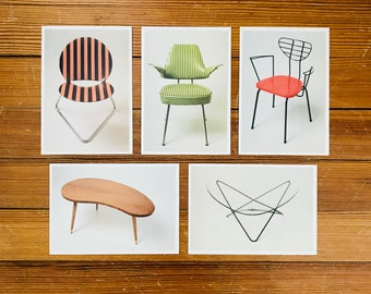 Mid Century Modern Furniture Postcards, Set of 5, Vintage Lover Mid Mod Design Decor Gift, Chairs & Tables, Hermann Gotting Collection