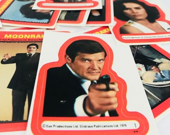Vintage James Bond 007 Moonraker Stickers, 1979 Topps Set of 22, Novelty Gift for Men, MI6 Spy Secret Agent Roger Moore, Chang, Jaws, More