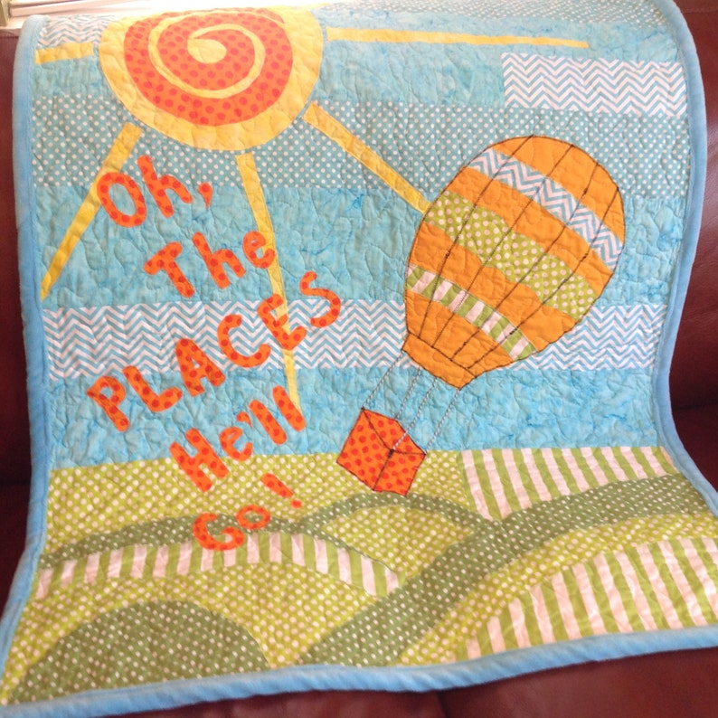 Balloon Baby Quilt/Oh The Places You Will Go/Baby Quilt/Gender image 0