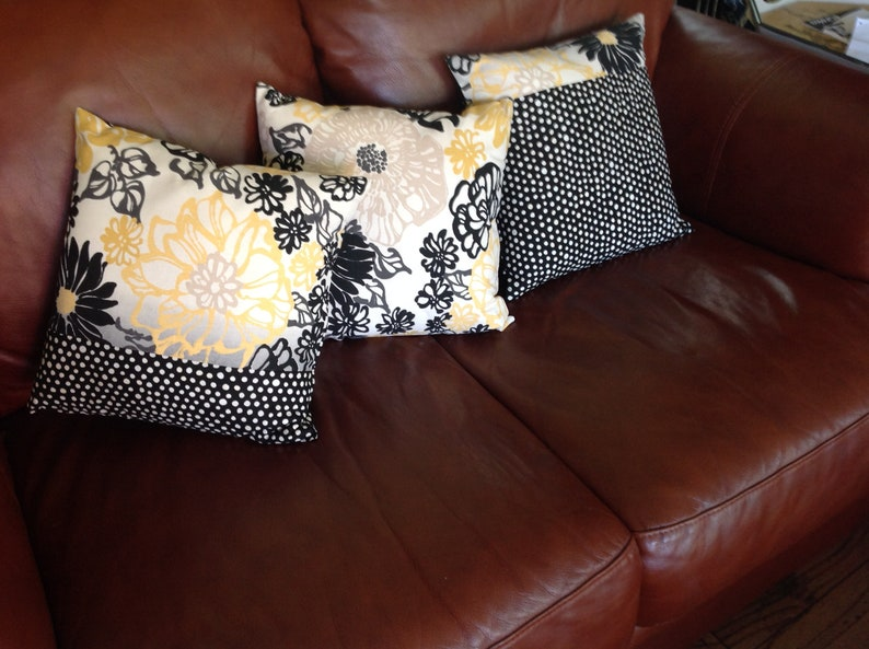 Remarkable Black Floral Pillow Yellow Black Sofa Pillows Set 14 X 14 Ready To Ship Yellow Black Floral Dot Envelope Closure Includes Pillow Inserts Uwap Interior Chair Design Uwaporg