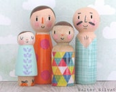 Spring Family Peg Dolls, Modern Pastel trendy Handmade Toys, Birthday Gift for Toddler, Wooden Doll Set, Miniature, Little People, Dolls 4pc