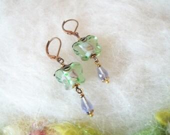 Small Earrings Dainty Butterfly Lamp Work Beaded Boho Dangle Earrings Vintage Inspired Bronze Copper Filigree Bead Caps Wedding Jewelry