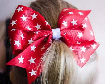 Hair Bow - Red and White Star Print Pinwheel Bow
