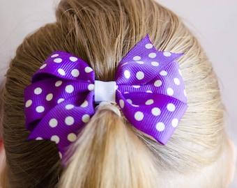 Hair Bow - White on Purple Polka Dot Pinwheel Bow
