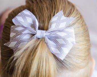 Hair Bow - Gray on White Print Pinwheel Bow