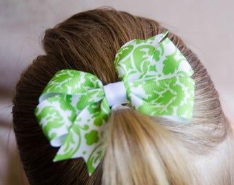 Hair Bow - Green on White Damask Print Pinwheel Bow