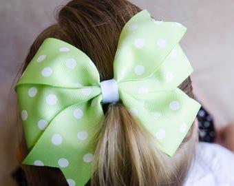 Hair Bow - Green and White Polka Dot Print Pinwheel Bow