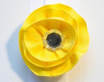 Hair Bow - Layered Summer Yellow Grosgrain Hair Flower