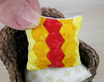 Miniature Patchwork Cushion for 12th Scale Dollhouse - Sunset