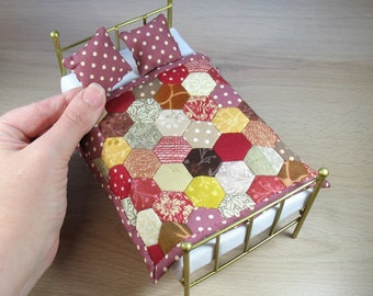 Miniature Quilt and Pillows for 12th Scale Dollhouse - Autumn Hexagons