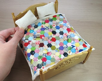 Miniature Double Patchwork Quilt and Pillows for 1:12 Dollhouse - Scrappy Quarters on White