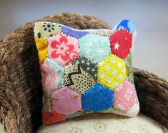 Miniature Patchwork Cushion for 12th Scale Dollhouse - RANDOM Scrappy Mix