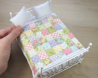 Miniature Quilt and Pillows for 12th scale Dollhouse - Double Pastel Squares
