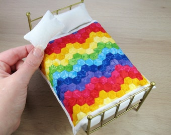 Dollhouse Miniature Patchwork Single Quilt and Pillows in 12th Scale - Rainbow Zigzag