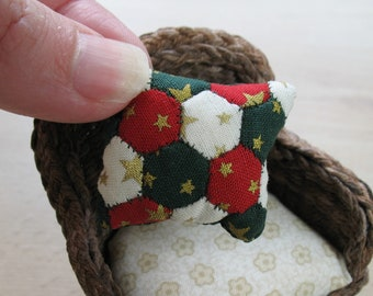 Dollhouse Miniature Patchwork Cushion in 12th Scale - Christmas