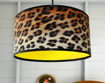 Leopard Print Wallpaper Lampshade With Neon Yellow Lining
