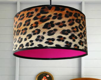 Leopard Print Wallpaper Lampshade With Neon Pink Lining