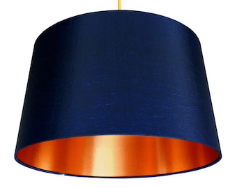 Midnight Blue French Drum Lampshade with Brushed Copper Lining