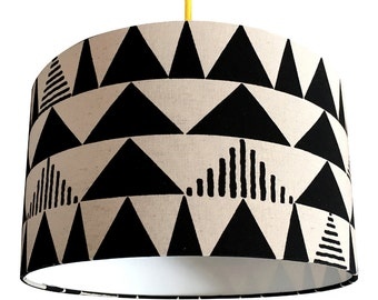 Tribal Handmade Lampshade in Charcoal & Linen