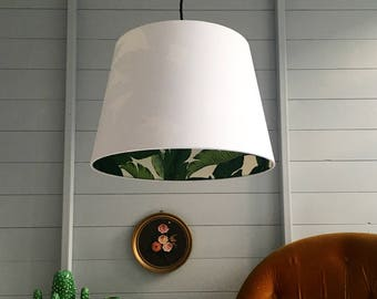 Tropical Banana Leaf Palm Jungle French Drum Silhouette Lampshade