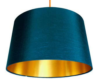 Petrol Blue French Drum Lampshade with Gold Lining