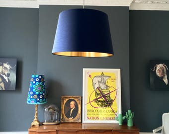 Midnight Blue French Drum Lampshade with Gold Lining