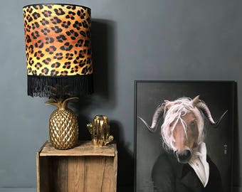 Handmade Wild Leopard Print Wallpaper Lampshade with Black Fringing. Available in 8 different sizes