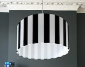 Black and White Striped Beetlejuice Lampshade