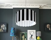 Beetlejuice Monochrome Striped Lampshade