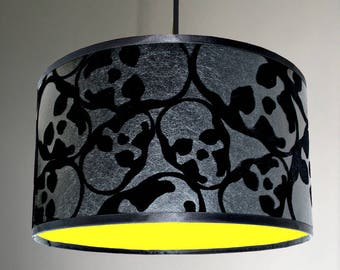 Flocked Skulls Wallpaper Lampshade With Neon Yellow Lining