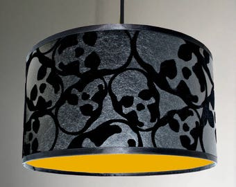 Flocked Skulls Wallpaper Lampshade With Neon Orange Lining