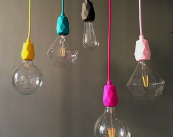 Blush Pink Silicone ES27 Flex and Fitting Pendant Light Set