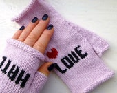 Fingerless Gloves - LOVE & HATE - Knuckle Tattoo - Valentines Day - Anti Valentine - Valentine's - Love Heart - Loveheart - Girlfriend