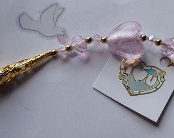 Handmade wedding favour, good luck gift, bridal gift, gold pink memento for bride, good luck wedding gift, suncatcher.