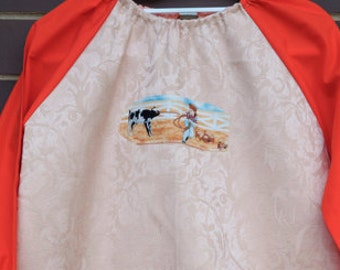 Kids art smock Back to school orange art smock, long sleeve waterproof front craft apron. Fits age 5 to 8. Boy and calf.