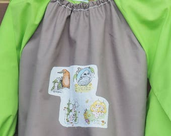 Kids art smock, for age 5 to 8. Back to school coverall, long sleeve waterproof front craft apron. Taupe and lime green with gum nut babies.