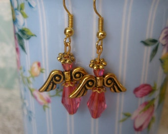 Angel earrings, hook, coral pink, gold wire